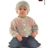 S507 2-color Baby Cardigan and Hat Set
