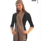 Plymouth Yarn N054 Cabled Hat & Scarf