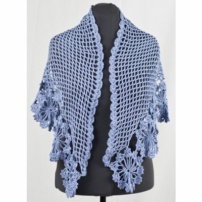 Crochet Patterns For Shawls With Sleeves : Cascade Yarns DK276 French Blue Shawl (Free) at WEBS ...