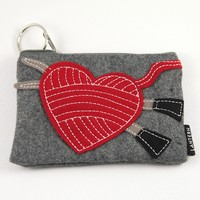 Stitch Red Felt Keychain Clutch