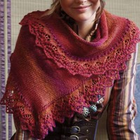 Asymmetrical Shawl with Lace Band