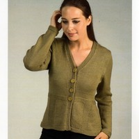 1921 Worsted Merino Superwash Back Panel Seed Cardigan
