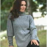 Plymouth Yarn 1948 Encore Chunky Tweed Woman's Babydoll Pullover