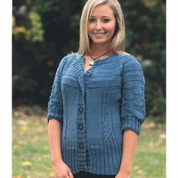 2081 Ladies Textured Yoke Cardigan