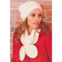 2745 Woman's Cable Hat and Keyhole Scarf