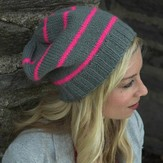 Plymouth Yarn F522 Encore Worsted Neon Striped Hat (Free)