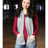 Plymouth Yarn F710 Cabled Pocket Scarf (Free)