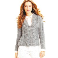 Luxair Ribbed Pullover with Ribbed Cables