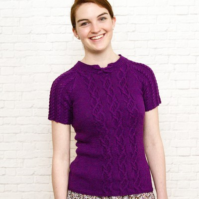 Fiona Ellis In The Loop Knit Cables Sweater, Short Sleeve Knit Sweater